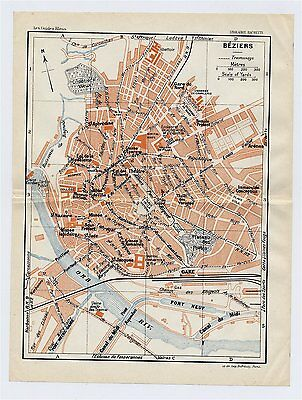 1926 Original Vintage City Map Of Beziers / Languedoc /  France