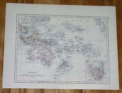 1893 Antique Map Of Oceania German Colonies / Australia New Zealand Guam Fiji