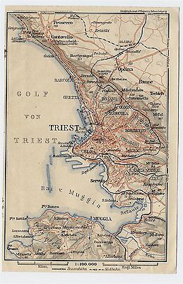 1910 Original Antique Map Of Vicinty Of Trieste Austro-Hungarian Empire Italy