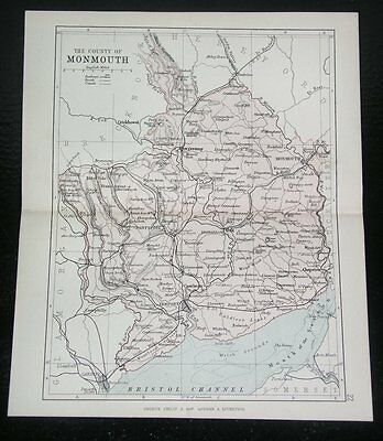 1884 Antique Map Of County Of Monmouth Monmouthshire Newport Wales