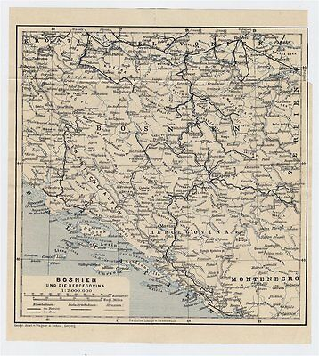 1910 Original Antique Map Of Bosnia And Herzegovina / Austro-Hungarian Empire