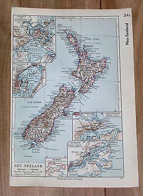1936 Original Vintage Map New Zealand Auckland Wellington Christchurch Dunedin