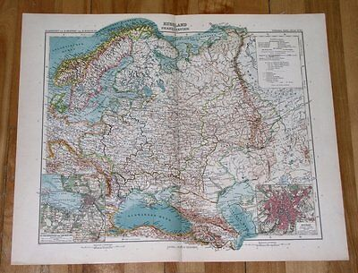 1908 Antique Map Russia Empire Poland Ukraine Lithuania Moscow St. Petersburg
