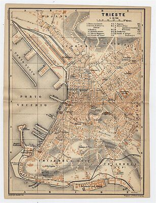 1903 Original Antique City Map Of Trieste / Austro-Hungarian Empire / Italy