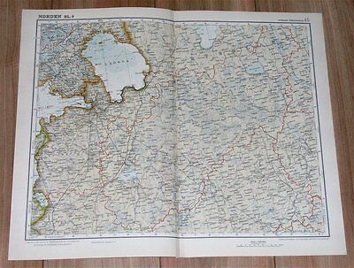 1926 Original Vintage Map Of Lake Ladoga Finland Karelia St. Petersburg Russia