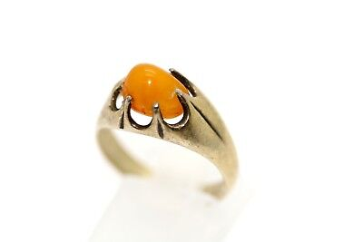 Antique Ring, Silver, Amber, 875 Hallmark, Size: 17.75 mm, Weight: 3.50 Gr
