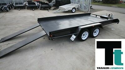 "16x6'6 TANDEM AXLE CAR CARRIER BOX TRAILER - 10"" SIDES - NEW WHEELS+TYRES+JOCKEY"