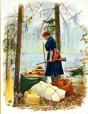 Antique Repro 8X10 Photo Print Woman Hunting Camping Canoe Winchester Model 63