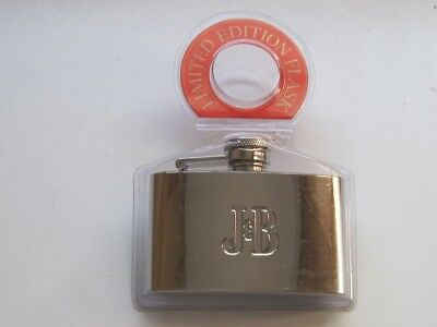 J&B Scotch Whiskey 2002 Limited Edition Stainless Steel 4oz Pocket Metal Flask