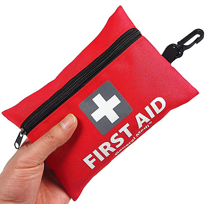 Mini First Aid Kit,92 Pieces Small Kit - Includes Emergency Foil Blanket,CPR...
