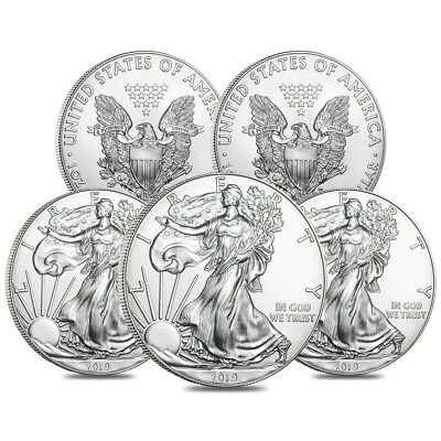 Lot of 5 - 2019 1 oz Silver American Eagle $1 Coin BU