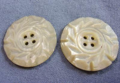 "Antique/Vintage 2 Hand Carved White Mother of Pearl 1"" Buttons, Leaf Design, MOP"