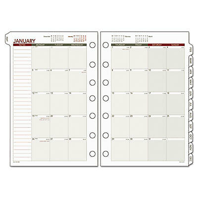 Day Runner Monthly Planning Pages, 5 1/2 X 8 1/2, 2017