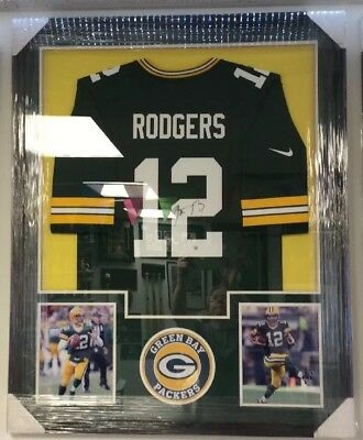 8e714f27 Aaron Rodgers Green Bay Packers NFL Autographed Jersey Framed W/Steiner COA