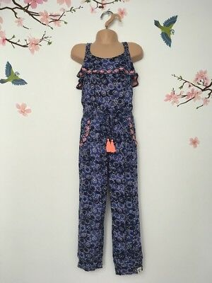 E4-Size 6 Years-MANTARAY Blue/orange Tassel Girls Sleeveless Summer Jumpsuit