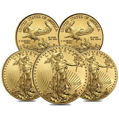 Lot of 5 - 2019 1/10 oz Gold American Eagle $5 Coin BU