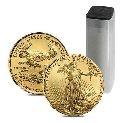 Roll of 50 - 2019 1/10 oz Gold American Eagle $5 Coin BU (Lot, Tube of 50)