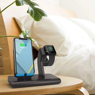 2in1 Qi Wireless Fast Charger Dock Stand Station For Watch Apple iWatch/iPhone X