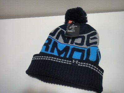 be624aaea2a ... germany under armour mens coldgear golf retro pom pom beanie hat color  blue 630b6 06a75 ...