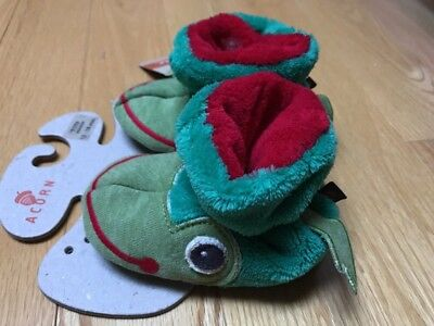 New W/Tags Toddlers Acorn Soft Green Frog Bootie Slippers 12-18 Months