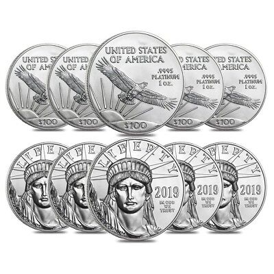 Lot of 10 - 2019 1 oz Platinum American Eagle $100 Coin BU