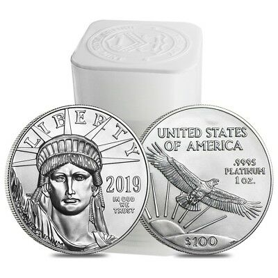 Roll of 20 - 2019 1 oz Platinum American Eagle $100 Coin BU (Lot,Tube of 20)