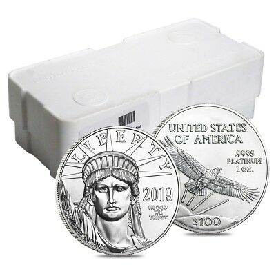 Box of 100 - 2019 1 oz Platinum American Eagle $100 Coin BU (5 Roll,Lot,Tube of
