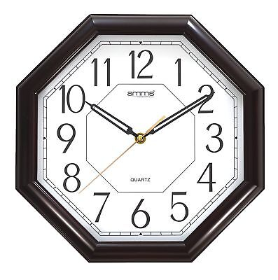 Amms Octagonal Shape Wall Clock Brown Frame Bold Numbers Sweep Movement New Gd00