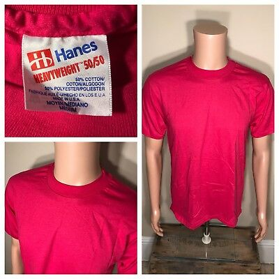 Vintage 80s BLANK T-Shirt Adult Medium HANES 50/50 DEADSTOCK Pink TEE NOS rare