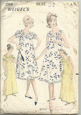"""Weigel's Sewing Pattern 2260, Vintage 1960's Nightgown, Negligee Bust 34"""""""