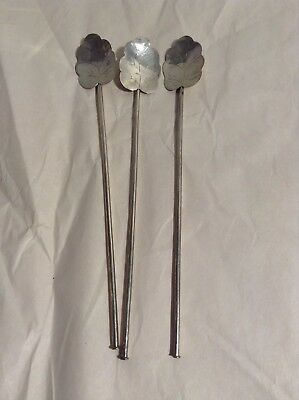 3 Vintage Leaf Mexico 925 Sterling Silver Ice Tea Sipper Spoons Stirrers