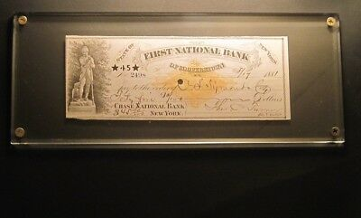 1881 N.Y. Vignetted First National Bank Check w/ 2 Cent Stamp & Leatherstocking