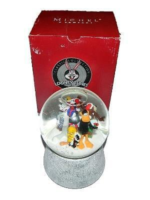 Michel 1999 Looney Tunes Holiday Snow Globe Musical Rotates Tweety Bugs Taz Xmas