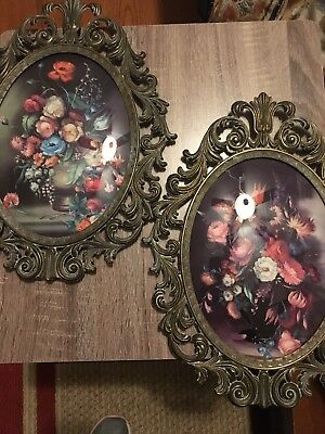 2 Vintage Homeco Home Interiors Floral Metal Framed Wall Pics Made In Italy