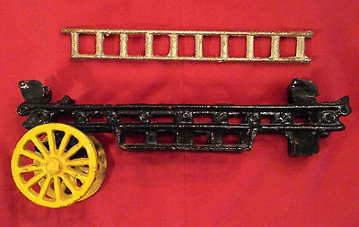 """Cast Iron Horse Drawn Fire Fighter Truck PARTS 9"""" Wagon and 7"""" Ladder ONLY ✿ VTG"""