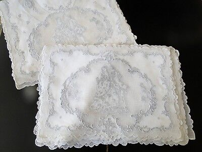 Antique Linens-Superb Appenzell Table Runner,placemats W/courting Couples