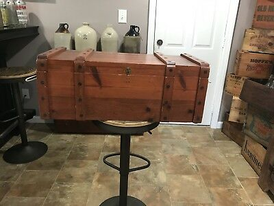 Vintage Western Toy Box Wood Chest, COWBOY Made By Habitant Bay City Mich
