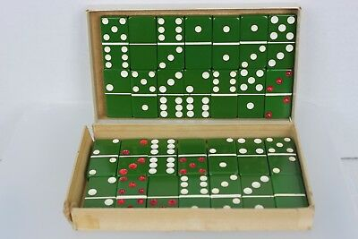 Vintage Dominoes Green Marblelike Jumbo Size Giant Face Extra Thick No. 1432