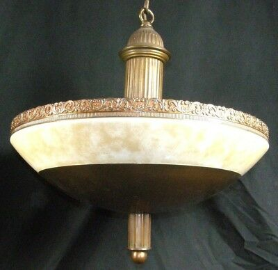 Antique Brass Bronze Ceiling Hanging Lamp Chandelier Domed Fancy Fleur de Lis