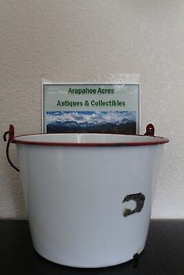 "Vintage Enamelware, White w/Red Rim & Wooden Handle, 8.5"" x 11"" Stock Pot / Pail"