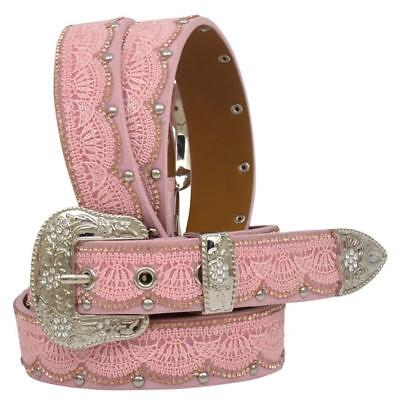 Angel Ranch Western Girls Belt Kids Leather Laced Overlay Studded Pink A5269