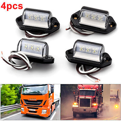 4 x 3LED License Licence Number Plate Light Lamp Lorry Truck Van Trailer 12V/24V