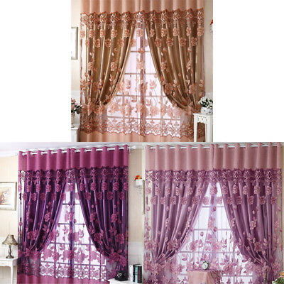 2* Window Drape Floral Curtain Peony Voile Door Tulle Sheer Panel Scarf Valances