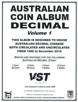 VST Australian Decimal Coin Album Volume 1 Backing Pages from 1966 to Dec 2015