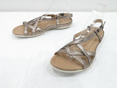 bd0dc6fc050b Ecco Strappy Sandals Womens 41 10 Pewter Silver Leather Slingback Open Toe  Flats