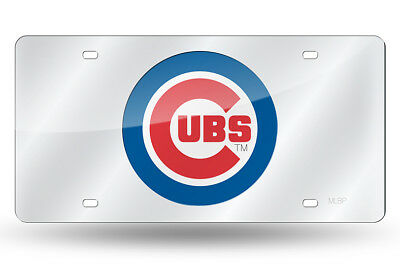 Chicago Cubs Silver Laser Cut Mirror Car Tag License Plate Logo Sign