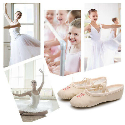 NEW Kids Toddler Girls Embroidery Leather Canvas Ballet Shoes Dancing Size 25-35