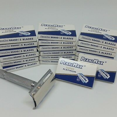 PearlMax Razor + 100 Blades Super Platinum Double Edge, Safety Razor Shave