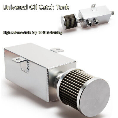 Universal Car Oil Fuel Catch Can Tank W/Breather&Filter Drain Tap Aluminum 1 Ltr