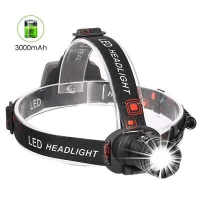 Rechargeable LED Headlamp Super Bright 3000mAh Headlight 3 Modes Zoomable
